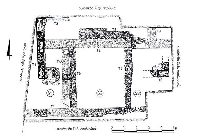 Κάτοψη της ανασκαφής στο οικόπεδο Ειρ. Ζερβού Μάιος 2001